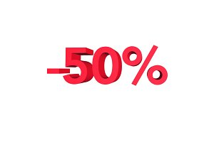 Fifty percent discount. Numbers 3d