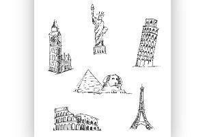 Doodle Travel set. World landmarks