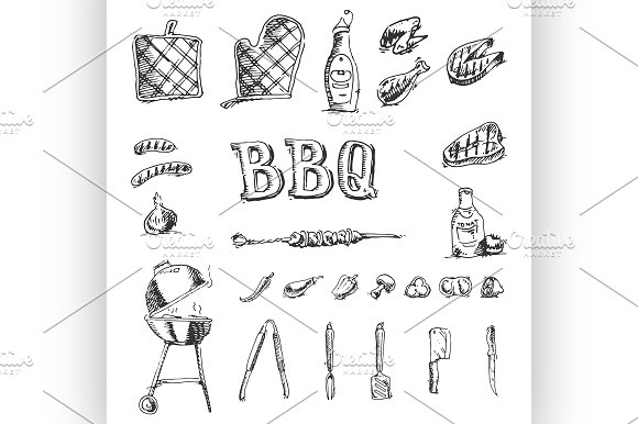 Doodle Vector set of barbecue