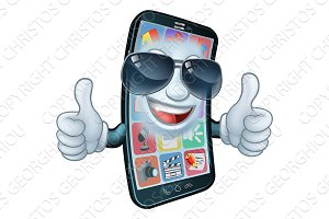 Mobile Phone Cool Shades Thumbs Up