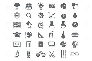 36 B&W School Icons