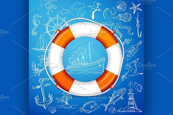 Hand-drawn elements of marine theme