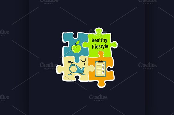 Healthy lifestyle symbol in Illustrations