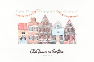 Old town watercolor set