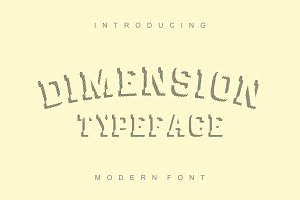 Dimension - striped font