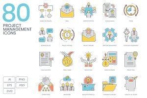Project Management Color Line Icons