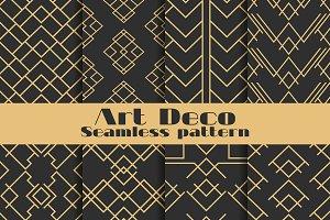Art deco seamless pattern set