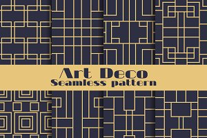 Art deco seamless pattern set
