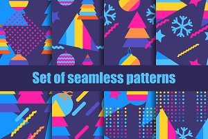 Set of seamless pattern memphis