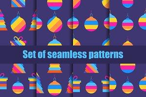 Christmas set of seamless pattern