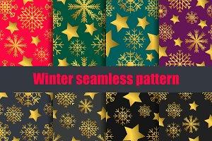 Snowflakes and stars seamless set