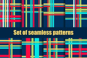Set of seamless patterns with lines