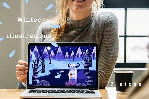 Set of Winter Illustrations