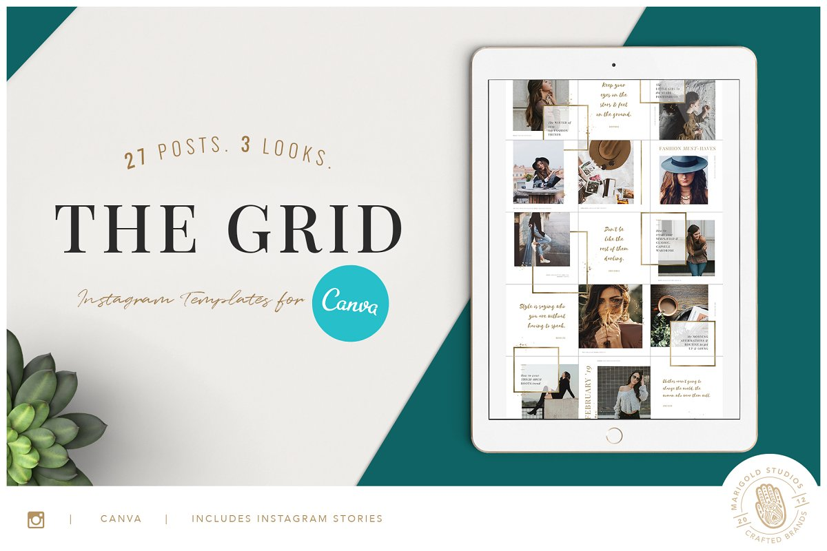 The Grid Canva Ppt Instagram Templates Creative Market