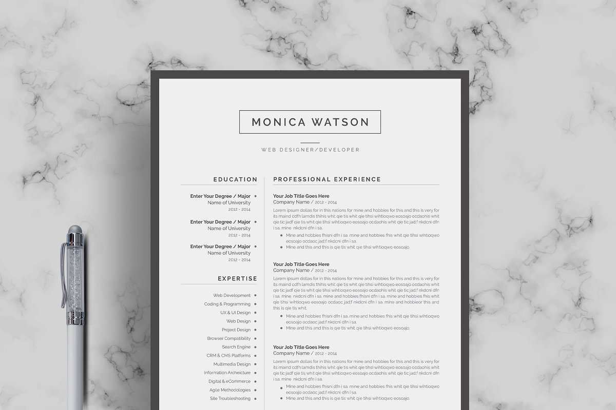 Resume Template | CV + Cover Letter ~ Cover Letter Templates ...