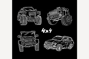 Off Road Hand Drawn cars