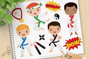 Karate Boys - Vector Clipart