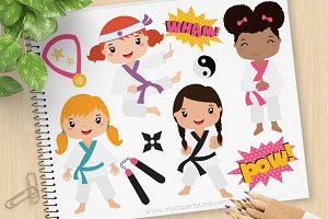 Karate Girls - Vector Clipart