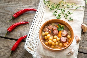 Soup with chickpeas and sausages
