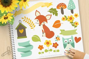 Woodland Fox - Vector Clipart