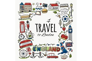 Travel to England. Greeting card for