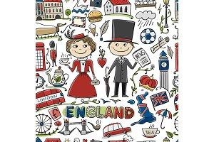 Travel to England. Seamless pattern