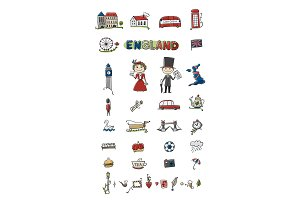 Travel to England. Icons set for