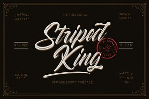 Striped King Vintage Script