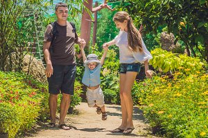 happy young family spending time