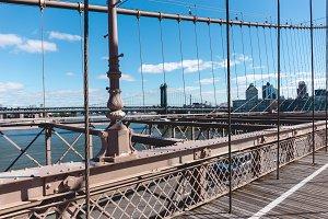 brooklyn bridge on blue sky and manh