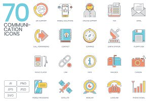 70 Communications Color Line Icons