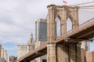 panoramic view of brooklyn bridge an
