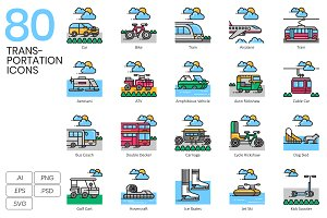 80 Transportation Icons | Aesthetic