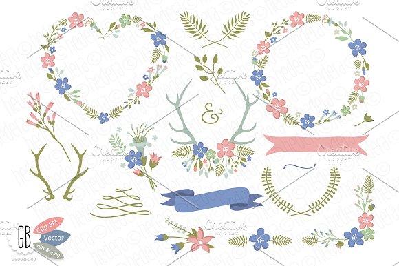 Folk flower wreaths heart blue