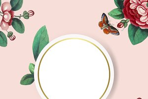Painting flowers blank circle frame