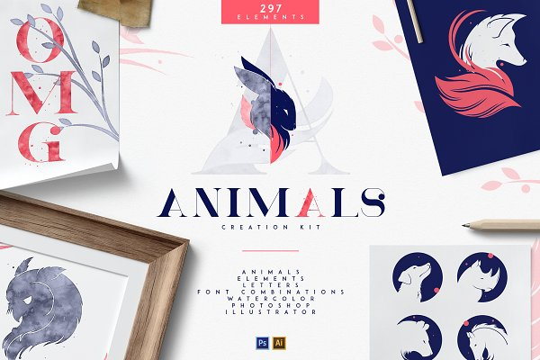 Logo Templates: VPcreativeshop - Animals - Creation Kit | AI and PS