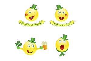 emoji smile icons on Saint Patrick's