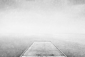 Wooden jetty in scandinavian mood