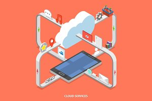 Cloud services isometric concept