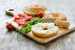 Bagels with cream cheese snack