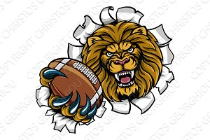 Lion American Football Ball Breaking