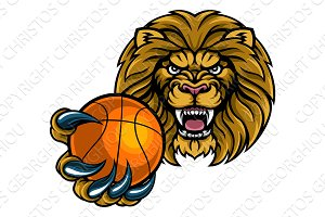 Lion Basketball Ball Sports Mascot