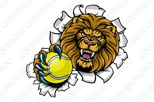 Lion Holding Tennis Ball Breaking