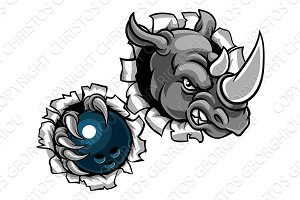 Rhino Holding Bowling Ball Breaking