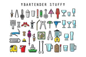 Bartender Stuff. EPS - JPEG - PNG