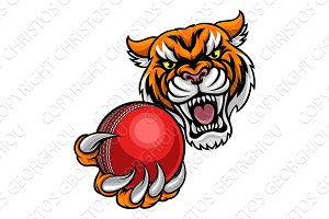 Tiger Holding Cricket Ball Mascot