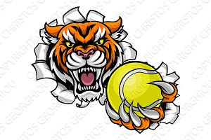 Tiger Holding Tennis Ball Breaking