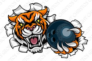 Tiger Holding Bowling Ball Breaking