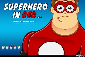 Superhero In Red Character - Set 2