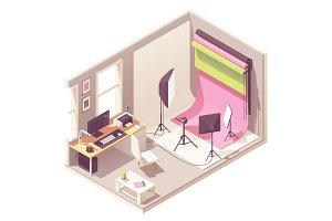 Vector isometric photo studio